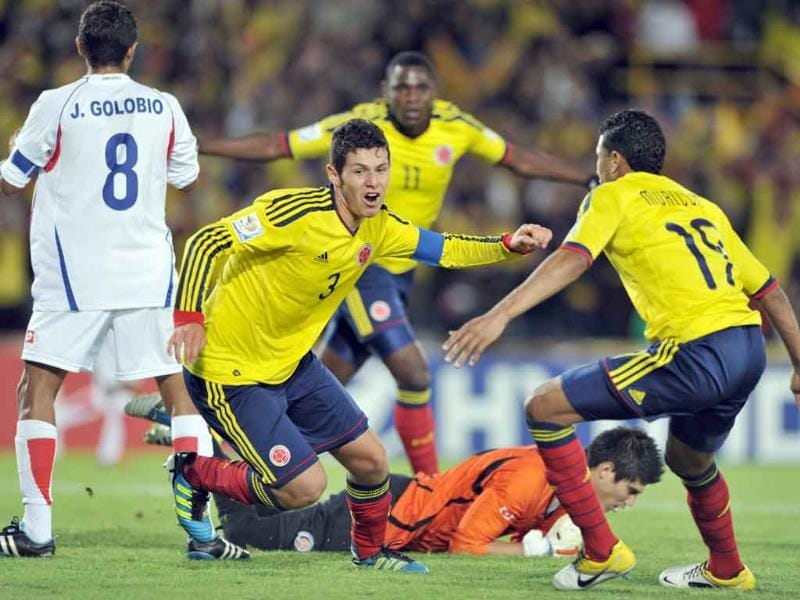 Colombia's player Pedro Franco (C) celebrates after scoring against Costa Rica during their FIFA Under-20 World Cup football match held at the Nemesio Camacho stadium in Bogota.