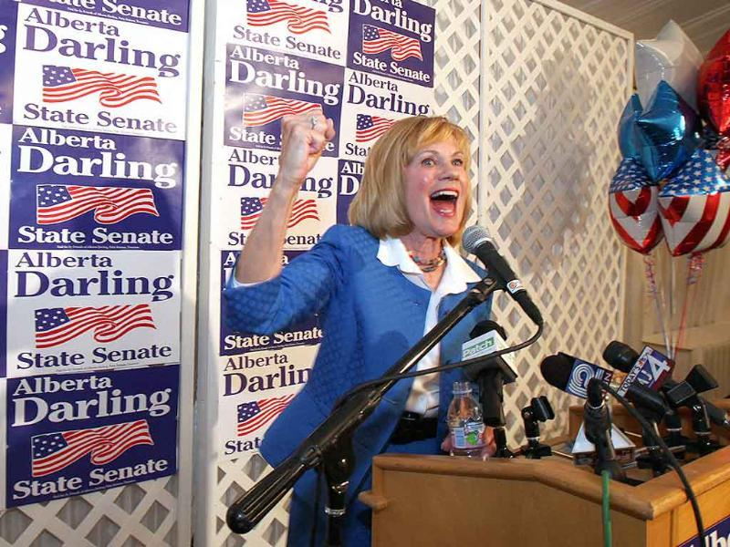 Senator Alberta Darling, R-River Hills, speaks to supporters at her recall election results party at Shully's in Thiensville, Wisconsin.