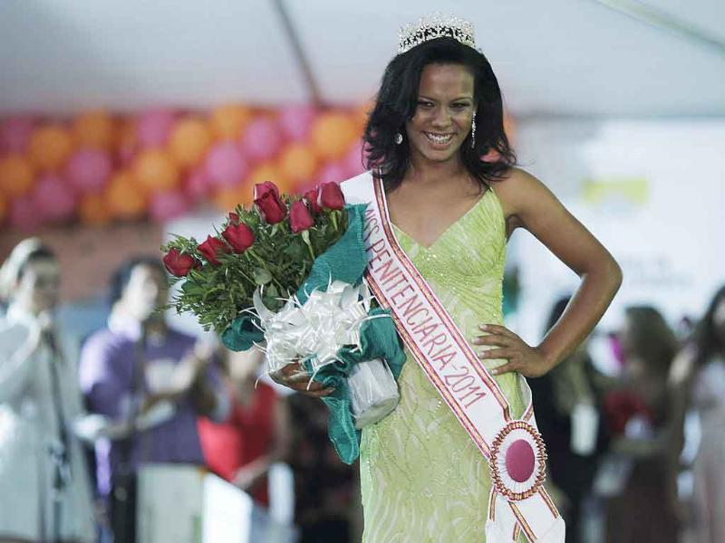 Raira Passion walks the ramp after winning Miss Penitentiary beauty pageant at the Women's Prison of Brasilia.