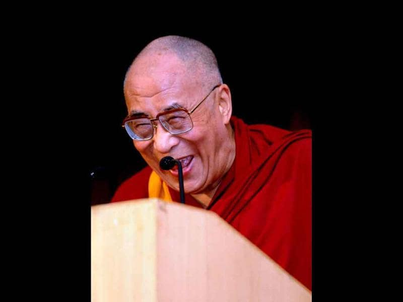 Tibetan spiritual leader the Dalai Lama delivers his speech at the fourth annual Lecture on Minorities in New Delhi.