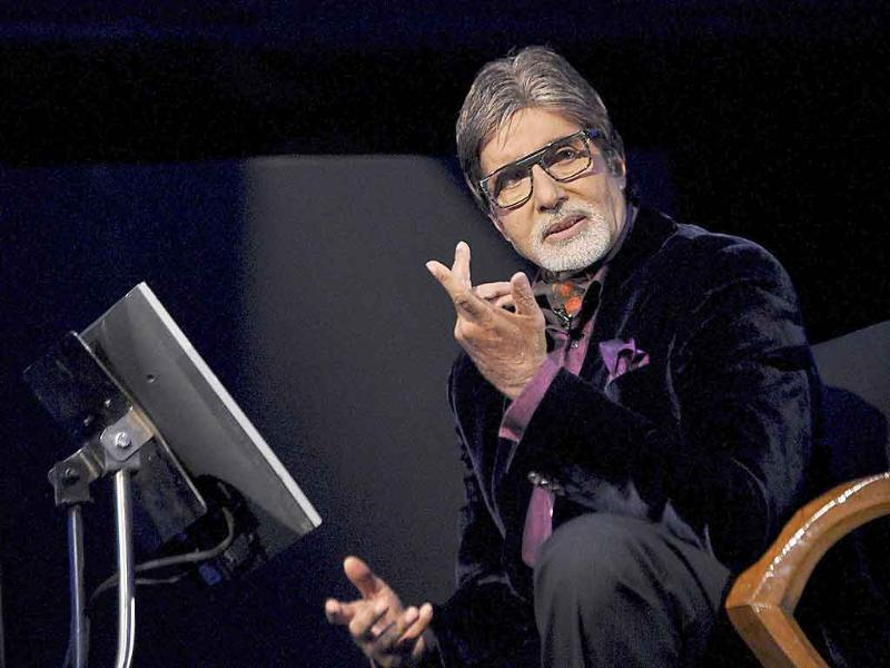 Amitabh Bachchan gestures during the launch of season five of the television show Kaun Banega Croepati in Mumbai.