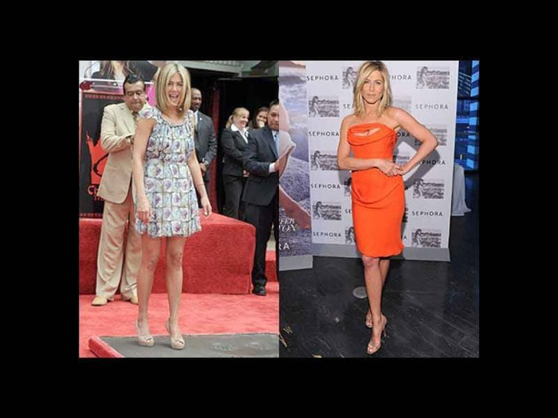 Jennifer Aniston is so fashion forward! Floral Prada dress and nude peeptoes, yes! Bright orange Vivienne Westwood dress and nude strappy sandals, hell yes!