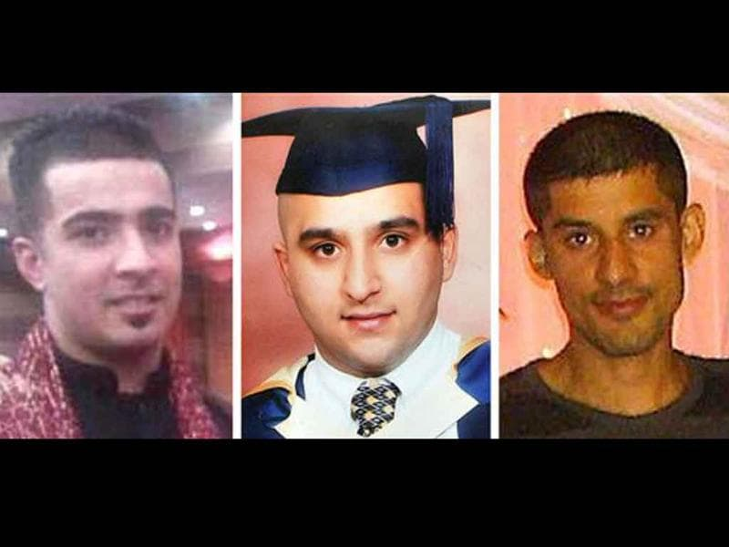 In this combo image of undated photographs from left, Haroon Jahan, Shazad Ali and Abdul Musavir who were killed when a car crashed into them, as they protected their community from looters in Birmingham, England.