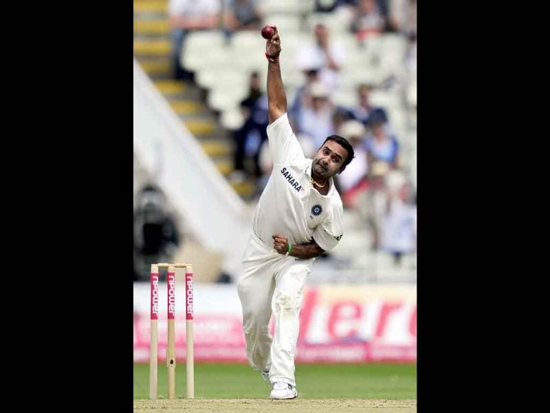 India's Amit Mishra bowls during the second day of the third Test against England at the Edgbaston cricket ground in Birmingham.
