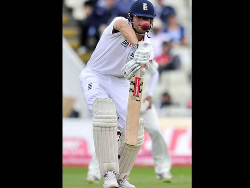 England's Alastair Cook bats during the second day of the third Test against India at the Edgbaston cricket ground in Birmingham.