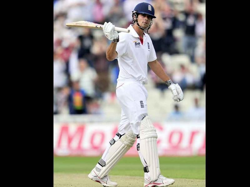 England's Alastair Cook celebrates making 150 runs during the second day of the third Test against India at the Edgbaston cricket ground in Birmingham.