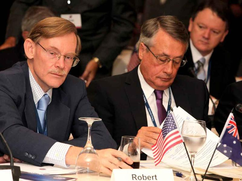World Bank president Robert Zoellick of the US (L) sits next to Australian Federal Treasurer Wayne Swan (R) at the 19th Australian American Leadership Dialogue in Perth. The Australian American Leadership Dialogue is a private bipartisan diplomatic initiative that brings together Australian and American leaders to help review and refine the parameters of the relationship between the two countries.