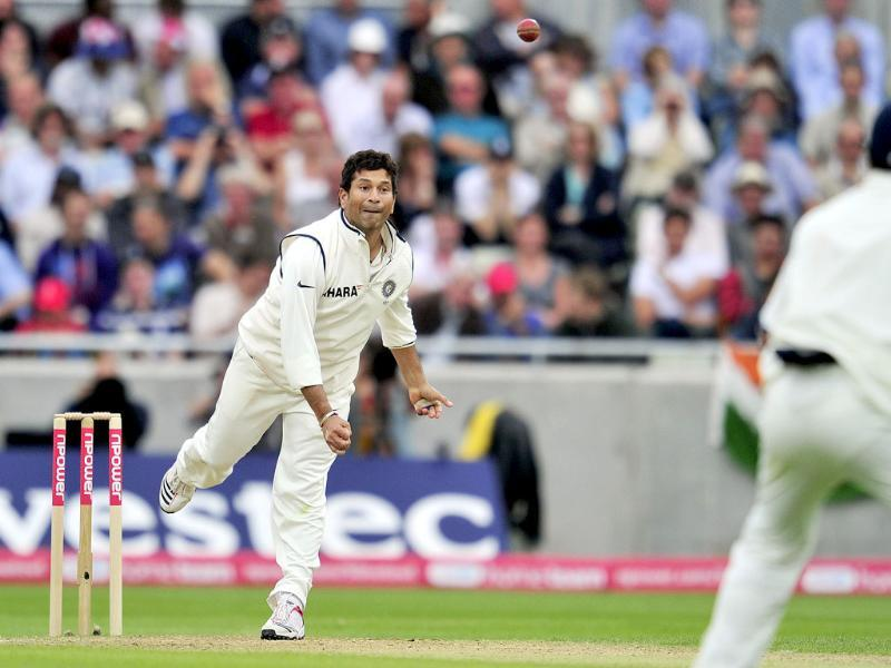 Sachin Tendulkar bowls during the third day of the third Test against England at the Edgbaston cricket ground in Birmingham.