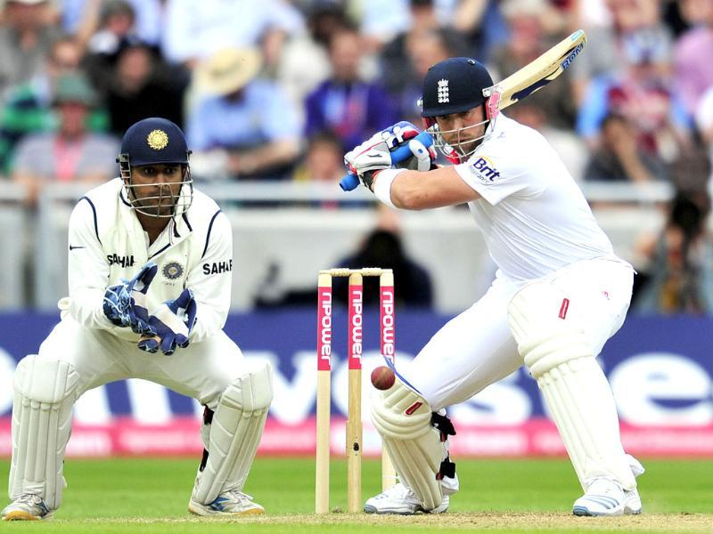 Matt Prior bats as Mahendra Singh Dhoni looks on during the third day of the third Test against India at the Edgbaston cricket ground in Birmingham.