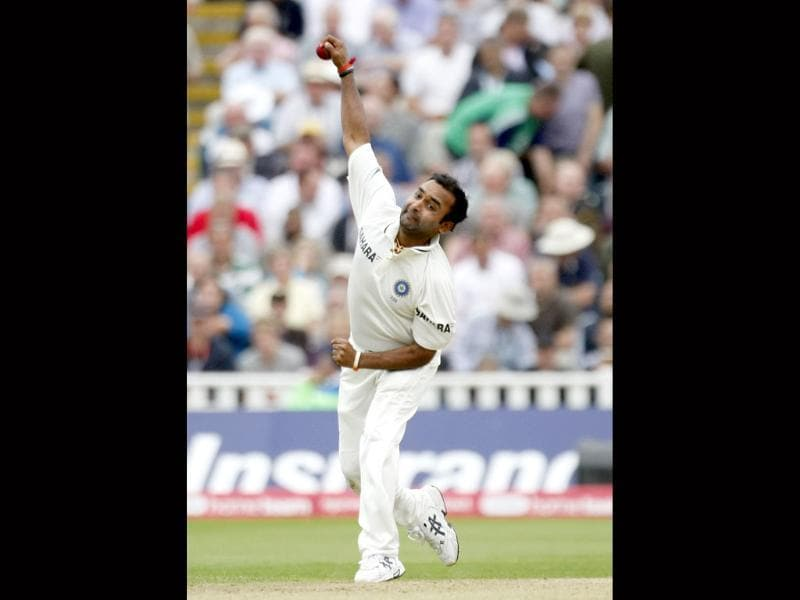 Amit Mishra bowls against England on the third day of the third Test match at the Edgbaston Cricket Ground, Birmingham.