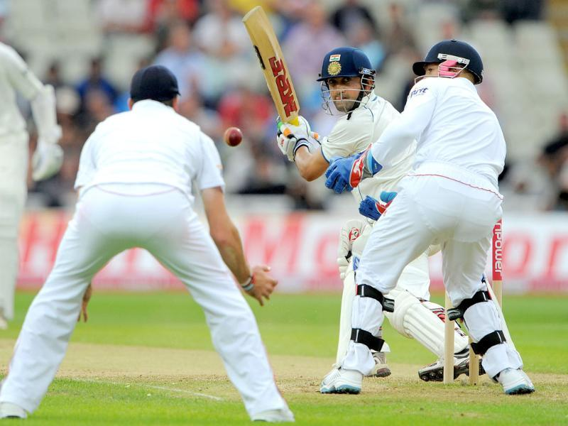 Gautam Gambhir bats during the third day of the third Test match between England and India at the Edgbaston cricket ground in Birmingham.