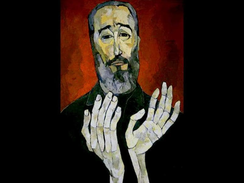 A painting depicting Cuba's leader Fidel Castro, by late Ecuadorian painter Oswaldo Guayasamin, is seen during an exhibit in Havana, Cuba. Artists and admirers of ailing Fidel Castro celebrate his 85th birthday starting today with different events.