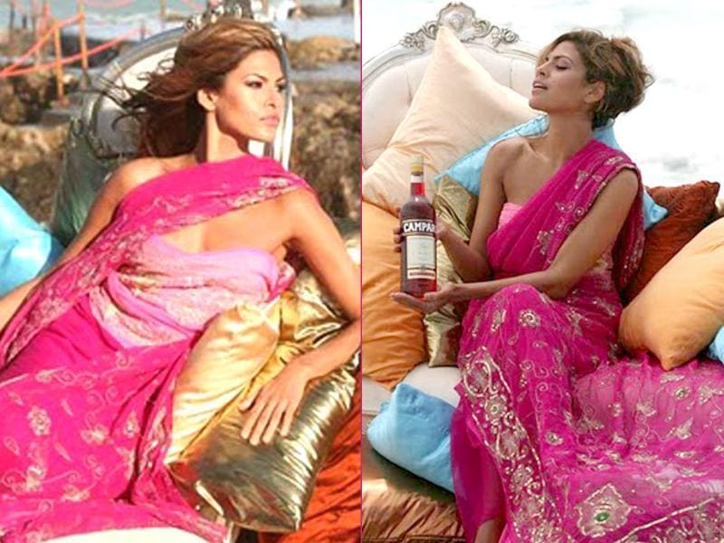 Eva Mendes donned a pink embroidered saree over a strapless blouse for a liqour commercial.