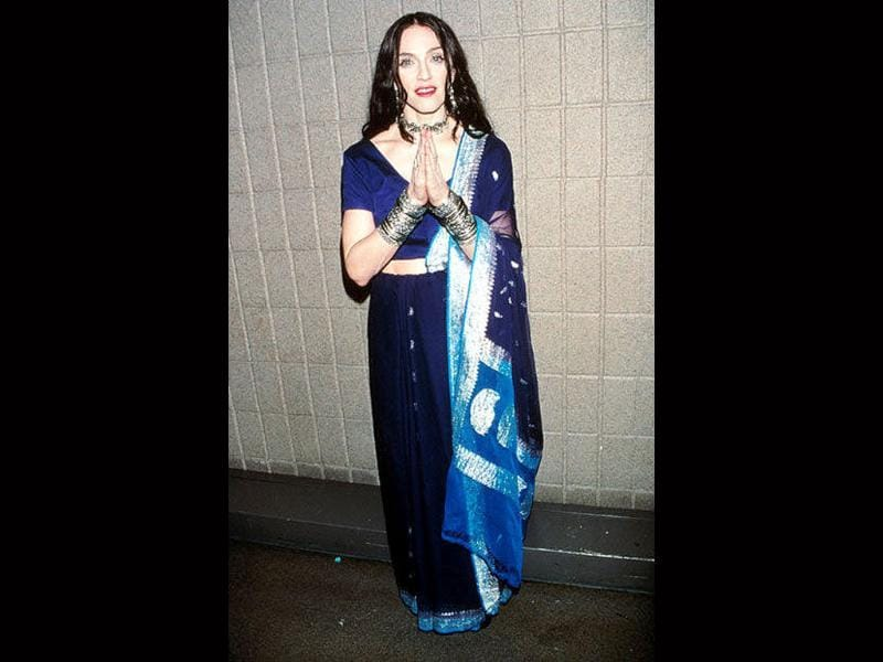 Known to be obssessed with Indian clothes when she was young, Madonna couldn't stay away from the saree either.