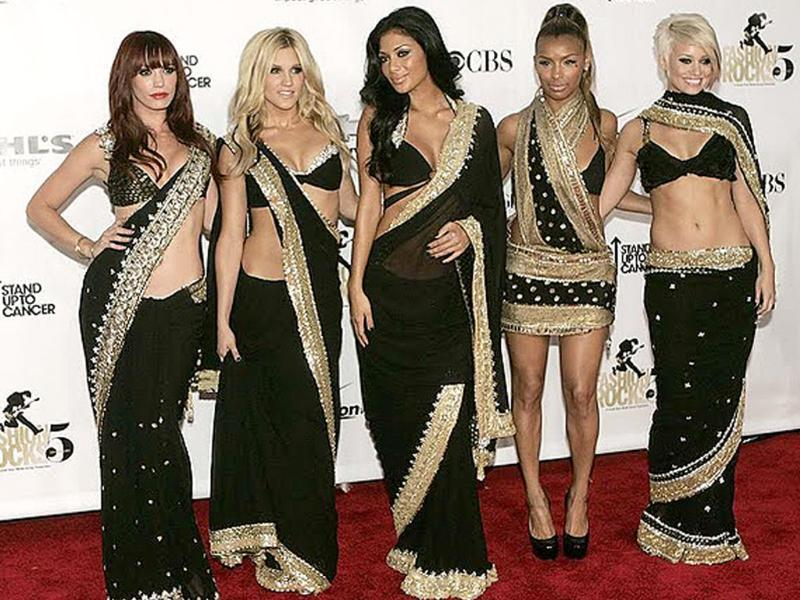 Pussy Cat Dolls go Bollywood at Fashion Rocks 2008 dressed in black embroidered sarees designed by Rocky S.