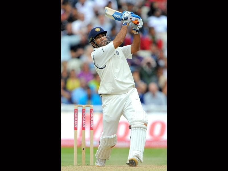 Mahendra Singh Dhoni bats during the fourth day of the third Test match between England and India at the Edgbaston cricket ground in Birmingham.