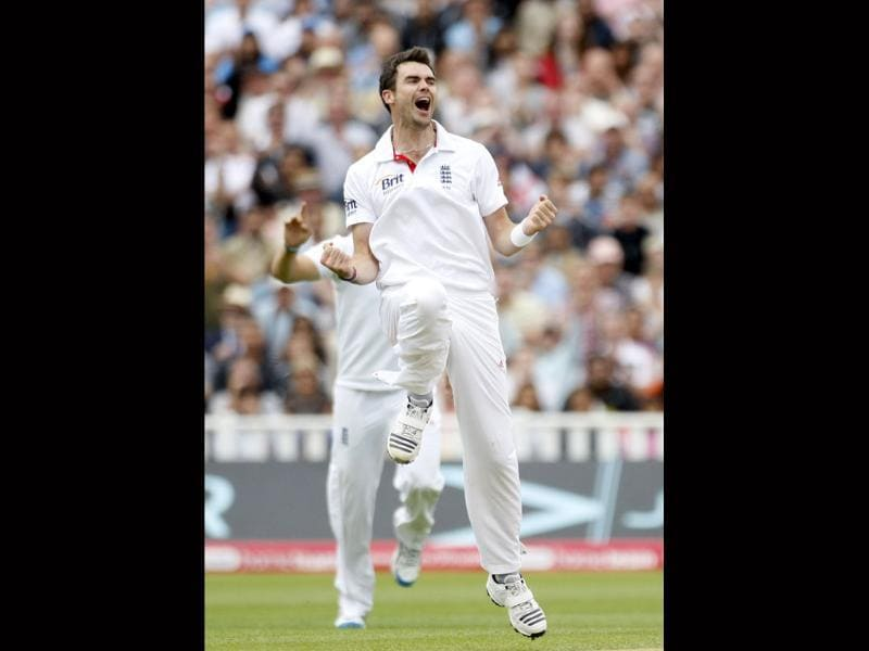 England's James Anderson celebrates after taking the wicket of India's VVS Laxman, not pictured, on the fourth day of the third Test match at the Edgbaston cricket ground, Birmingham.