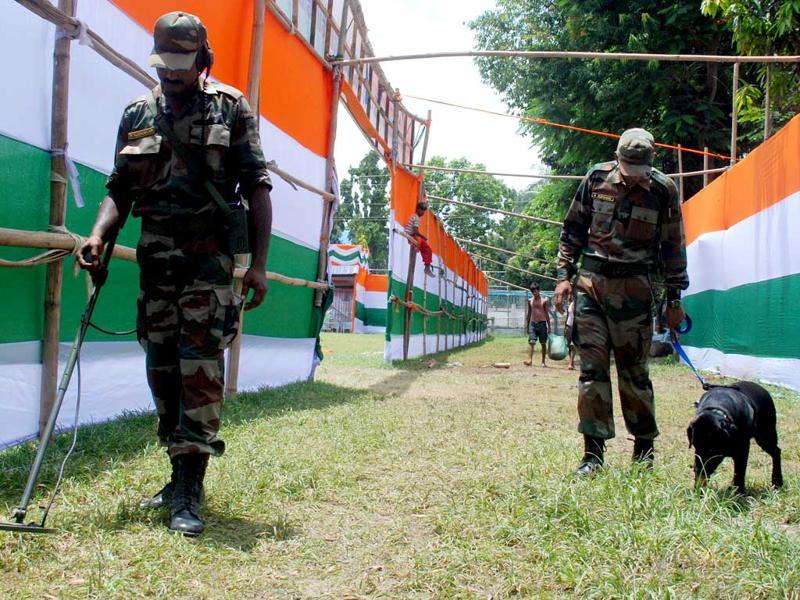 Personals of Bomb disposal Squad of Indian Army inspecting the Latasil Playground, the venue for the 65th Independence Day Celebrations, in Guwahati.