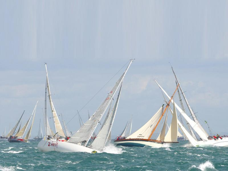 The fleet tack out of the western Solent at the start of the 44th Fastnet Race on The Solent, near Cowes, off southern England. A record 320 yachts have entered the biennial event in which they race 608 nautical mile to Plymouth via the Fastnet Rock, south west of Ireland.