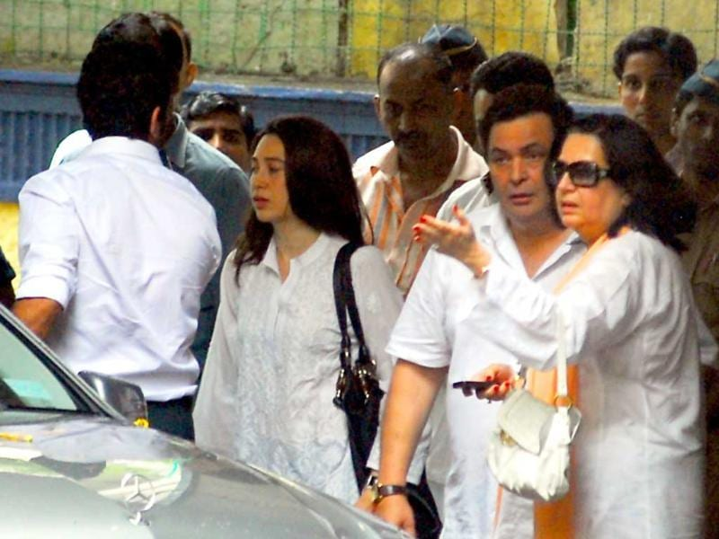Actress Karisma Kapoor and her husband Sanjay Kapur at Shammi Kapoor's residence.