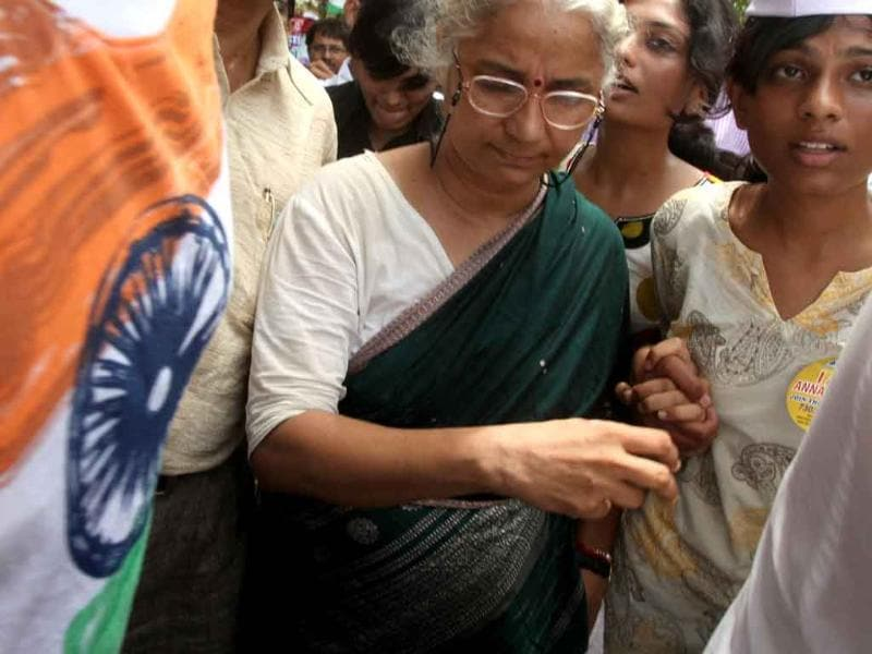 Medha Patkar with supporters of Anna Hazare protest at the Azad Maidan against his arrest in Mumbai.