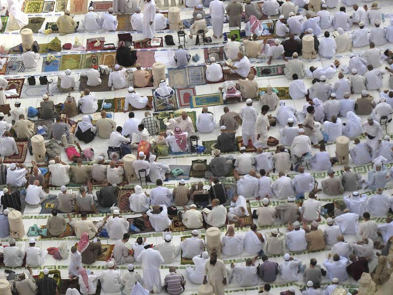 Muslims gather around the Kaaba inside the Grand Mosque during the Muslim month of Ramadan, in Mecca.