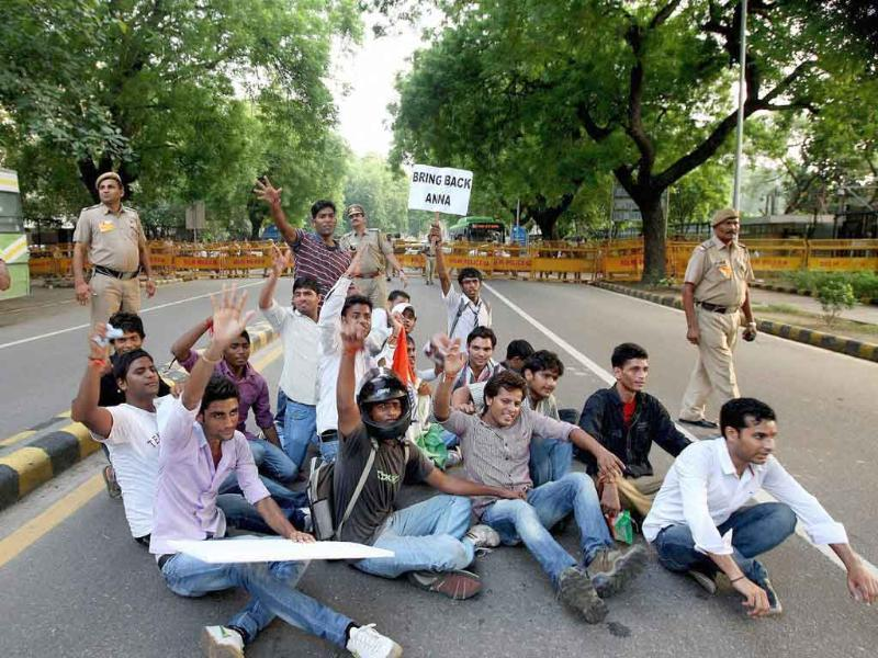 Anna Hazare supporters at Parliament Street in New Delhi.
