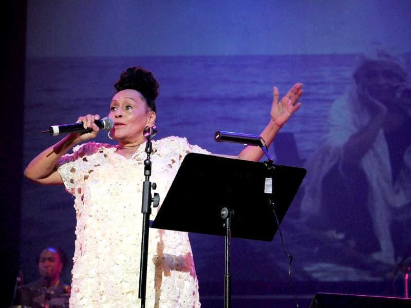 Cuban singer and member of the Buena Vista Social Club Omara Portuondo performs during a concert to promote her album Gracias at the Karl Marx Theater in Havana.