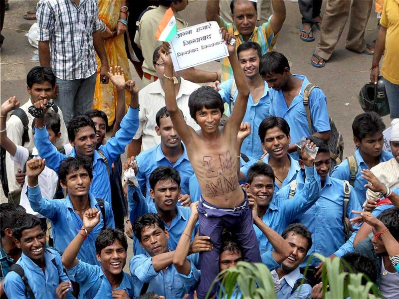 Students gather outside the Tihar jail in support of Anna Hazare in New Delhi.