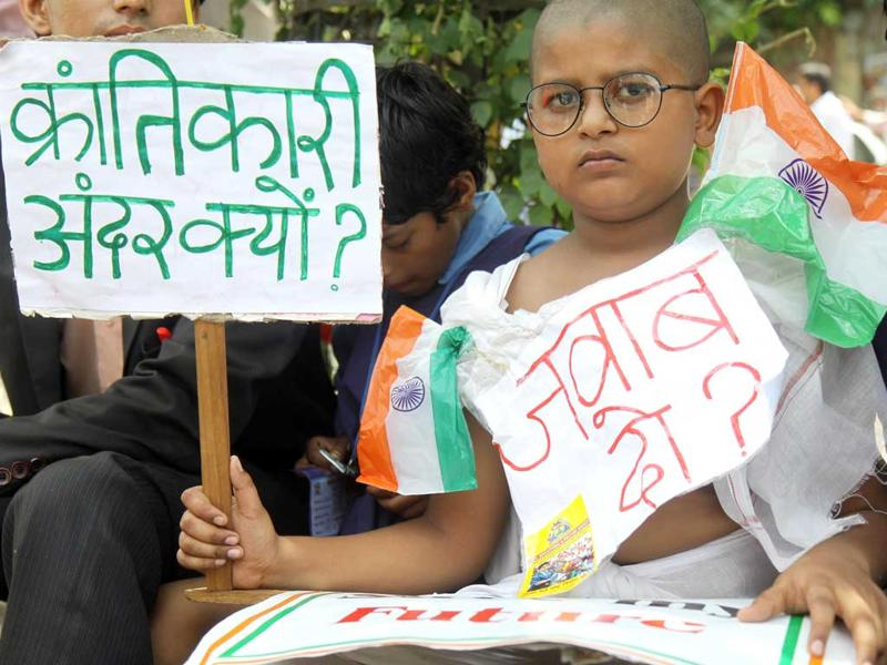 An Anna Hazare supporter outside the Tihar Jail in New Delhi.