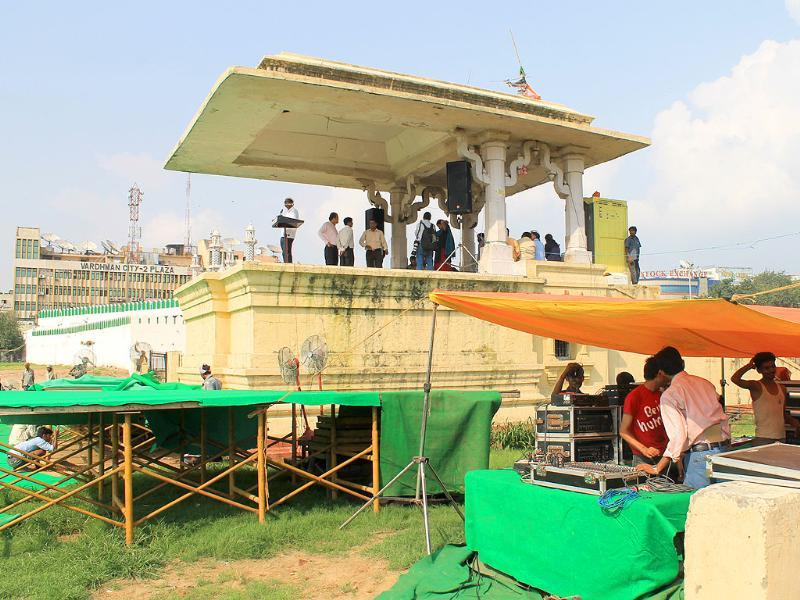 The venue is being prepared for a public protest by anti-corruption activist Anna Hazare at Ramlila Maidan in New Delhi.
