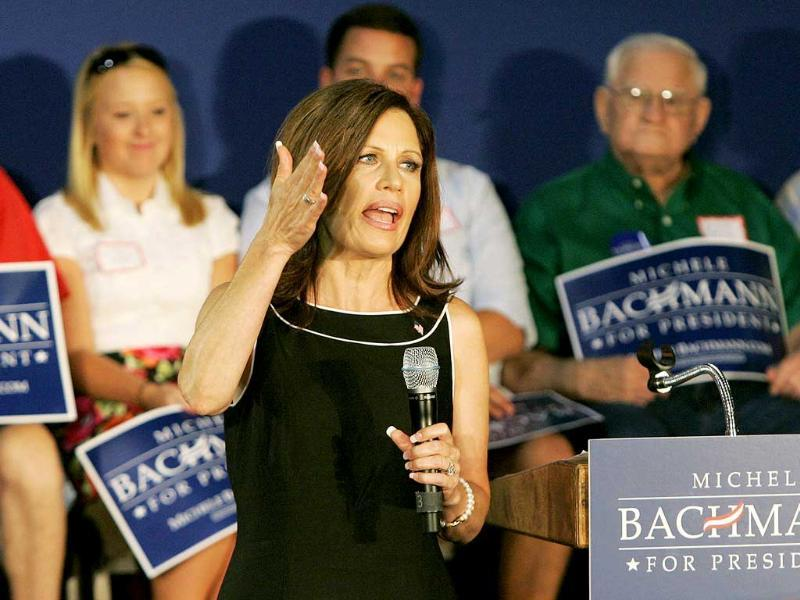 Republican US presidential candidate Michele Bachmann speaks during a rally in Florence, South Carolina.