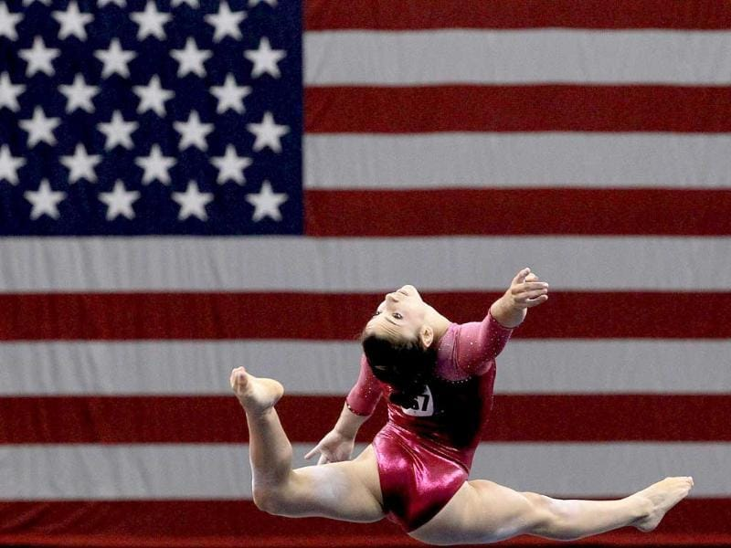 Alexandra Raisman competes on the floor during the Senior Women's competition on day two of the Visa Gymnastics Championships at Xcel Energy Center in St Paul, Minnesota.