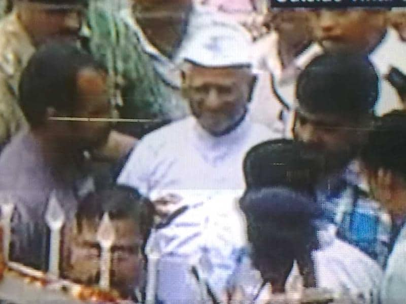 A TV grab shows Anna Hazare coming out of Tihar Jail in New Delhi.