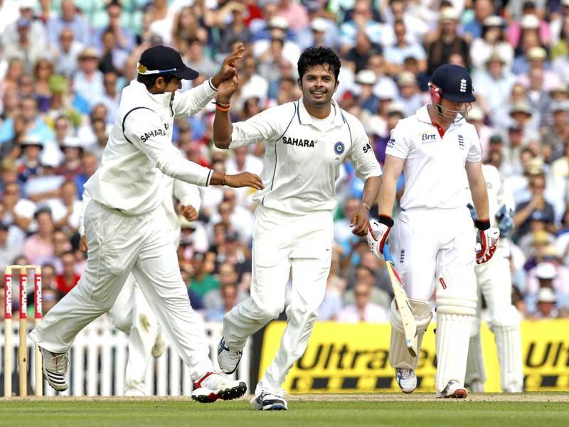 S Sreesanth celebrates taking the wicket of England's Eoin Morgan for 1 run during day 3 of the fourth Test match between England and India at The Oval Cricket Ground in London.