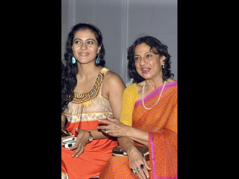 Bollywood actress Kajol Devgan and her mother Tanuja Mukherjee attend a show on the fourth day of Lakme Fashion Week (LFW) Winter/Festival 2011.