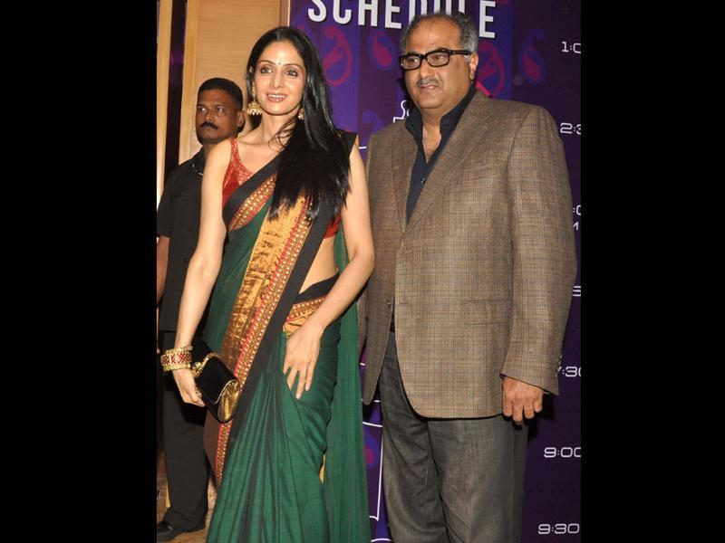 Sridevi with husband director Boney Kapoor attend a fashion show by designer Sabyasachi on the third day of Lakme Fashion Week (LFW) Winter/Festival 2011.