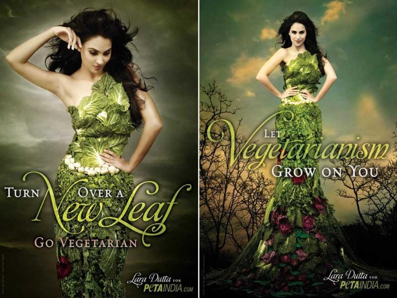 "Lara Dutta went absolutely green, literally. The former Miss Universe donned a dress made of lettuce leaves to promote vegetarianism for PETA. ""Even seemingly small choices can have a big impact on our health, our community and the world around us"", says Lara. ""Going vegetarian is one of the easiest ways to improve our health, help countless animals and protect the Earth."""