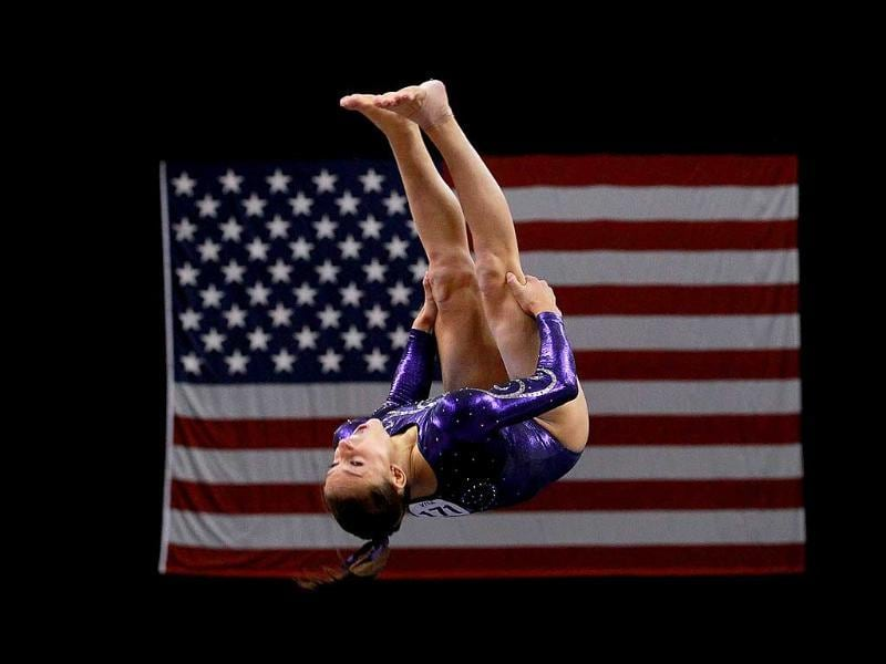 Jordyn Wieber competes on the floor during the Senior Women's competition on day four of the Visa Gymnastics Championships at Xcel Energy Center in St Paul, Minnesota.