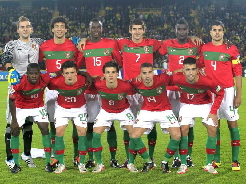 Portugal's Under-20 soccer team poses for a team photograph before the start of the FIFA U-20 World Cup final soccer match against Brazil in Bogota.