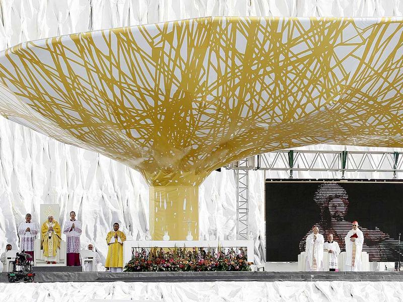 Pope Benedict XVI celebrates a mass on a vast dusty esplanade outside Madrid during the World Youth Day (WYD) festivities on Sunday.