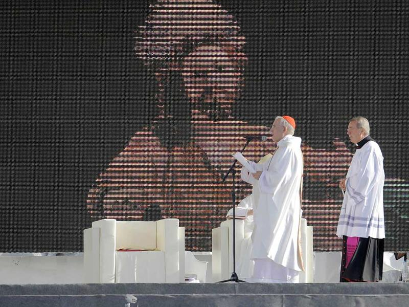 Pope Benedict XVI celebrates mass on a vast dusty esplanade outside Madrid during the World Youth Day (WYD) festivities.