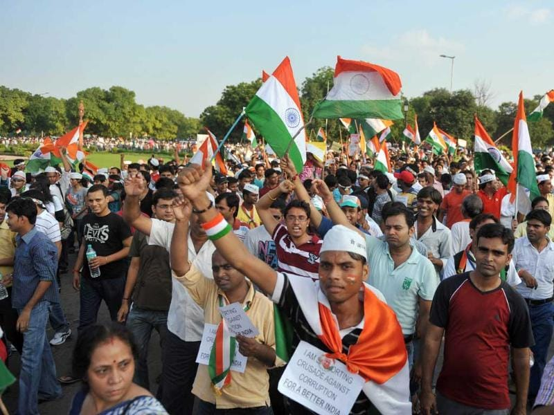 Supporters of Anna Hazare shout slogans during a rally at India Gate in New Delhi.