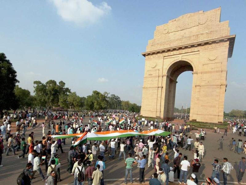 Supporters of Anna Hazare march from India Gate to Ramlila Maidan protesting against corruption in New Delhi.