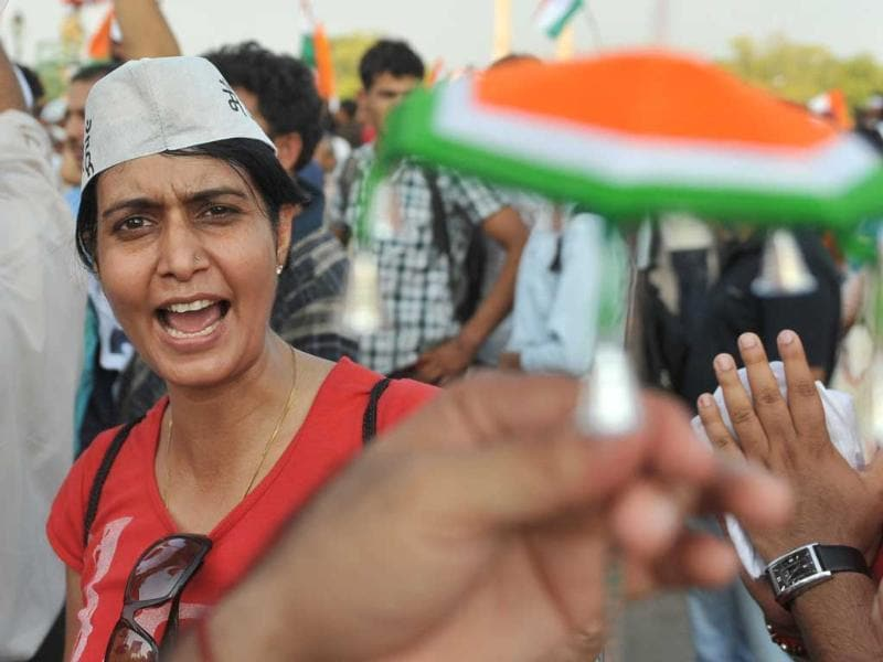 A supporter of anti-corruption activist Anna Hazare shouts slogans during a rally at India Gate in New Delhi.