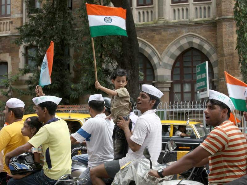 Supporters of Anna Hazare protest at the Azad Maidan in Mumbai.