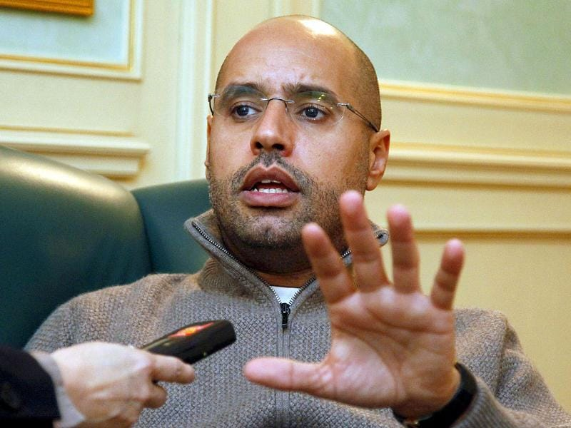 (FILES) Saif al-Islam Gaddafi, son of Libyan leader Muammar Gaddafi, speaks during an interview in Tripoli.