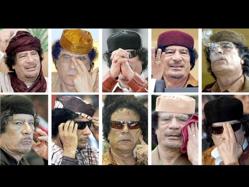 (FILES) A combo of file pictures created on shows Libyan leader Muammar Gaddafi.