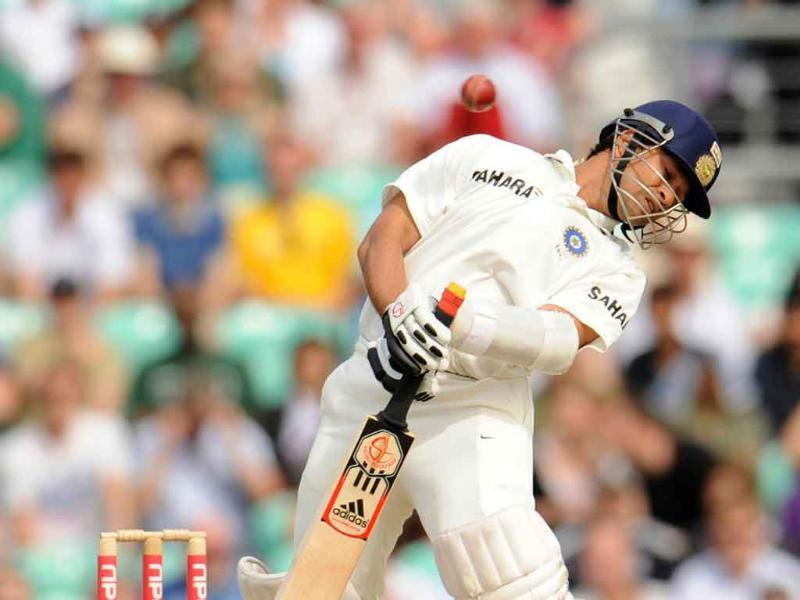 Sachin Tendulkar avoids a ball bowled by England's James Anderson during the fourth Test cricket match at the Oval cricket ground in London.
