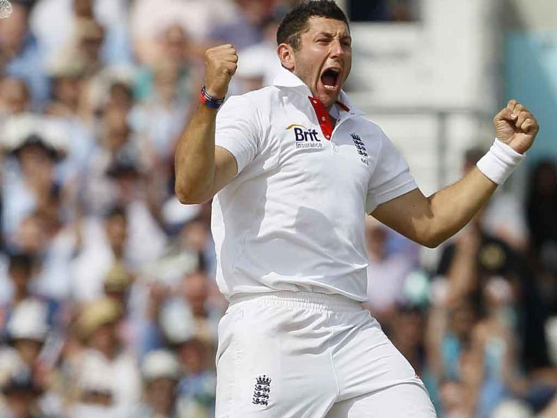 England's Tim Bresnan celebrates dismissing Sachin Tendulkar in their fourth test match, at The Oval cricket ground in London.